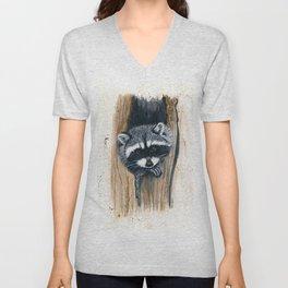 Tree Bandit - raccoon, animal, nature, wildlife Unisex V-Neck