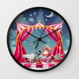 Illustration of cute circus  animals on stage in sky - illustration art  Wall Clock