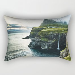 waterfall at faroe Rectangular Pillow