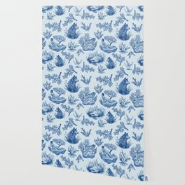 """I'm Still an Animal"" Toile (Blue) Wallpaper"
