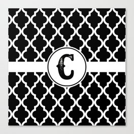 Black Monogram: Letter C Canvas Print
