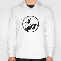skiing Hoodies featuring Skiing by Paul Simms