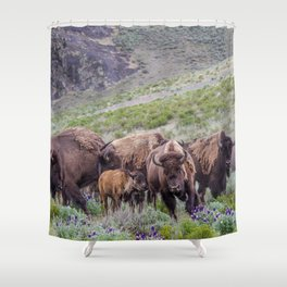 Buffalo On The Move In Yellowstone Shower Curtain