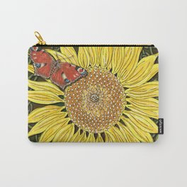 Sunflower and Peacock Butterfly Carry-All Pouch