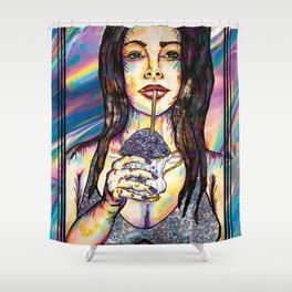 Cup of Glitter Shower Curtain