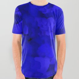 Rich Cobalt Blue Abstract All Over Graphic Tee