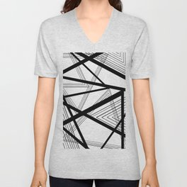 Black and White Abstract Geometric Unisex V-Neck