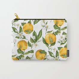 Citrus OrangeTree Branches with Flowers and Fruits Carry-All Pouch