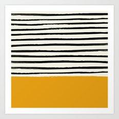 Fall Pumpkin x Stripes Art Print
