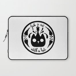 Just a cat with a chess queen hat black and white Laptop Sleeve