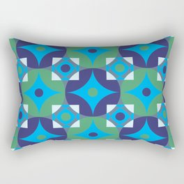 Circle and squares mosaic pattern in blue and green Rectangular Pillow