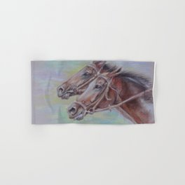 Horse Racing, Portrait of two brown horses, Pastel drawing on gray background Hand & Bath Towel