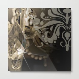 Sparkly Chandelier & Damask Metal Print