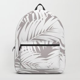 Palm Tree Fronds White on Soft Grey Hawaii Tropical Décor Backpack