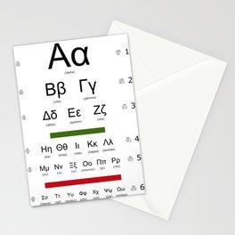 Greek alphabet optometrist Stationery Cards