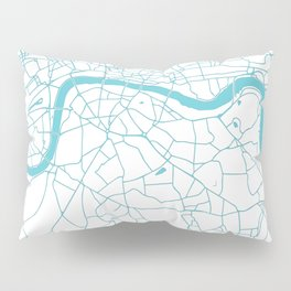 London White on Turquoise Street Map Pillow Sham