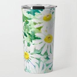 Chamomile Flowers, Herval design Field flowers wild flowers floral art Travel Mug