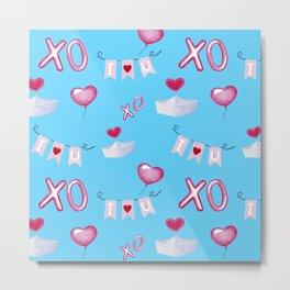 Valentine pattern blue background Metal Print