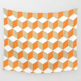 Diamond Repeating Pattern In Russet Orange and Grey Wall Tapestry