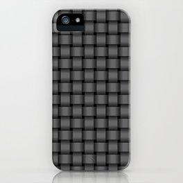 Small Dark Gray Weave iPhone Case