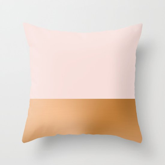 Blush Pink Throw Pillows : Blush Pink and Copper Throw Pillow by Grace Society6