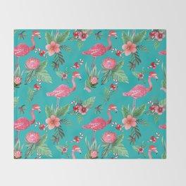 Santa Flamingo Christmas, Holiday Tropical Watercolor Throw Blanket