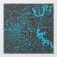 nashville Canvas Prints featuring Nashville by Map Map Maps