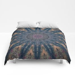 Delicate Navy Blue Bohemian Mandala Comforters