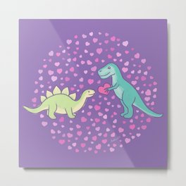 Cute Dinosaurs in Love, T-Rex is Giving a Heart to a Stegosaurus, Violet, Purple, Green, Mint Colors, Dinosaur Illustration and Pattern Metal Print
