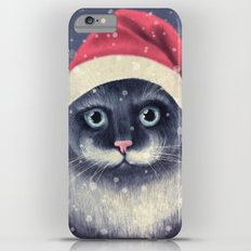 Christmas cat with a mustache iPhone 6 Plus Slim Case