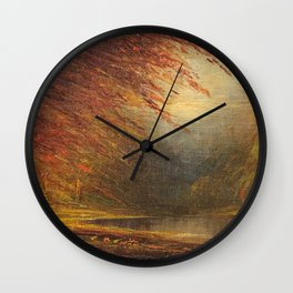 Autumn Leaves on the River Bank landscape painting by H. Joiner Wall Clock