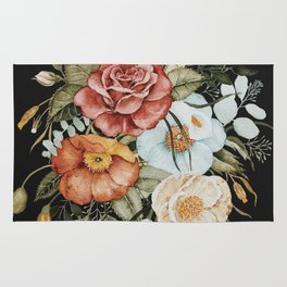 Roses and Poppies Bouquet on Charcoal Black Rug