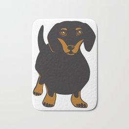 Black and Tan Dachshund Vector Art Frankie the Dachshund Gift for Dog Lover Bath Mat