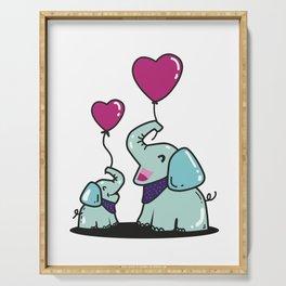 Elephant, Baby Elephant, Heart Balloon Serving Tray