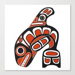 Orca Whale Haida Style Art - Native American Totem Tribal Canvas Print