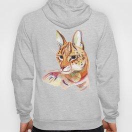 Serval wild cat watercolor Hoody