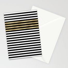 Chic Black, Gold and White Stripes Stationery Cards