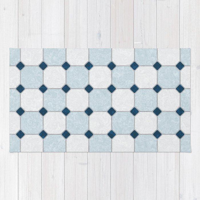 Sky Blue Classic Floor Tile Texture Rug By Textures Society6