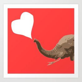 Elephant Pink Love Art Print