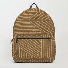 Golden ochre lines - textured abstract geometric Backpack