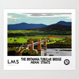 Britannia Tubular Bridge Travel Poster Art Print