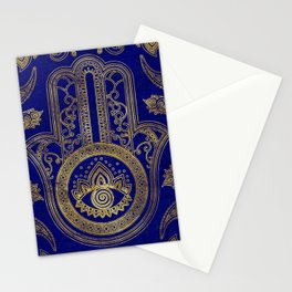 Hamsa Hand  - gold on lapis lazuli Stationery Cards