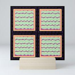 FOUR TIMES MULTI COLOR WAVES Design Pattern Mini Art Print