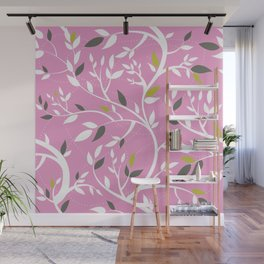 Elegant botanical pattern branches leaves dusty pink Wall Mural