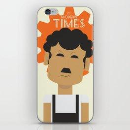 Charlie Chaplin, Modern Times, minimal movie poster, classic film, Charlot, Hollywood iPhone Skin
