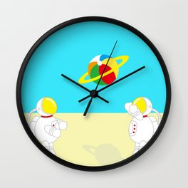 Space Odyssey | Astronaut Beach | Beach Ball | Summer | Sea | Seaside | Ocean | pulp of wood Wall Clock