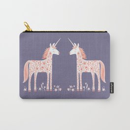 Unicorn with Flowers Carry-All Pouch