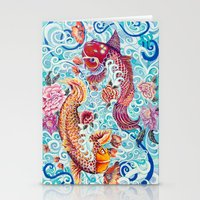 koi fish Stationery Cards featuring Koi Fish by Art by Risa Oram