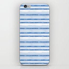 Watercolor Silent Sea Blue Stripes iPhone Skin