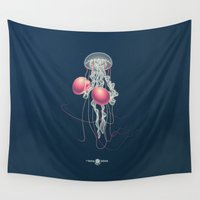 boxing Wall Tapestries featuring The Boxing Jellyfish Blues by Thom Van Dyke by THOM VAN DYKE